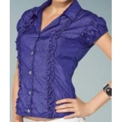 Linda blusa de Tafeta Azul com babados na frente