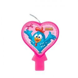 Vela para Bolo Galinha Pintadinha Festa Infantil Coração Rosa