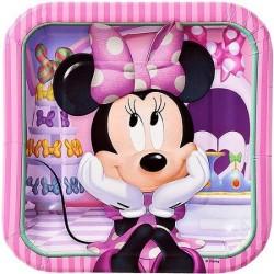 Pratinho de Bolo Descartável Minnie Rosa Festa Infantil