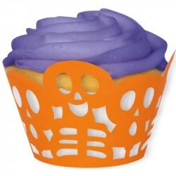 Forminha para Cupcake Caveiras Laranjada Halloween