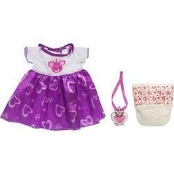 Kit Roupinha Baby Alive Vestido Colar e Fralda Acessórios
