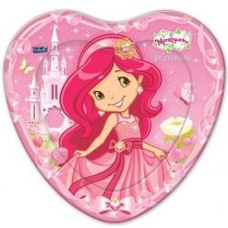 Pratinho de Bolo Descartável Coração Rosa Moranguinho Princesas 8un