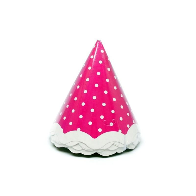 Chapeuzinho de Aniversário Poá Rosa e Branco 24un Festa Infantil
