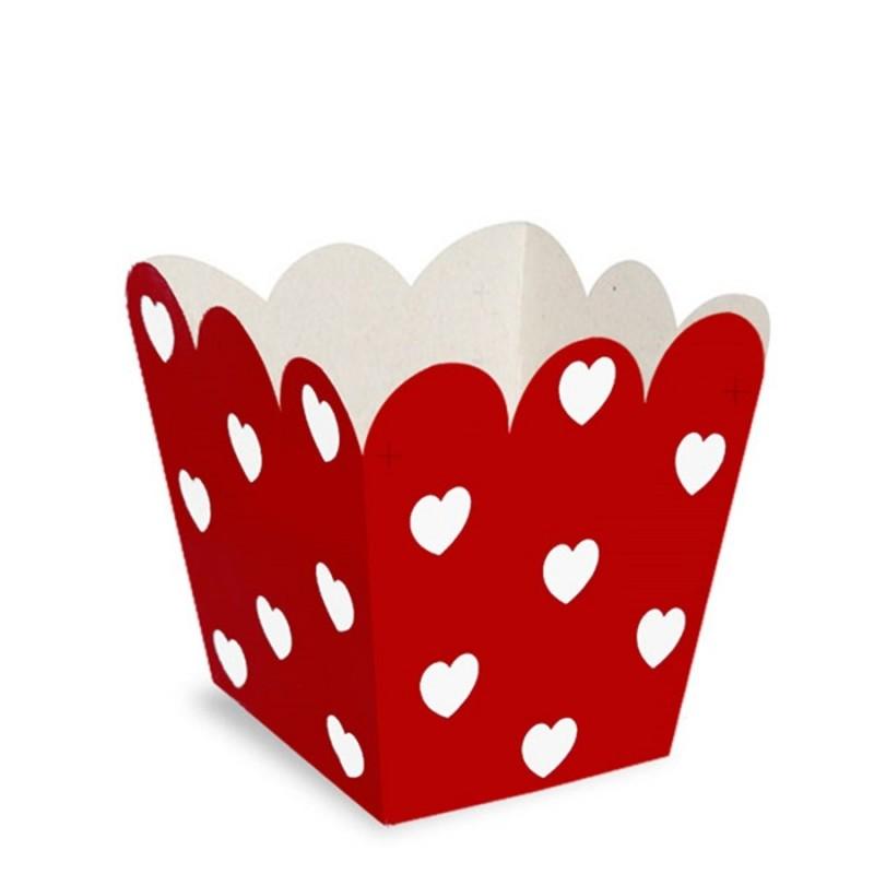 Cachepot Vermelho com Corações Brancos Decoração de Festas
