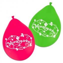 Bexigas de Látex Rosa e verde Decoração Moranguinho
