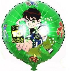 Balão Metalizado Ben 10 Decorativo Verde Redondo