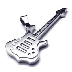 Pingente Profissões Músico Guitarra Prateada