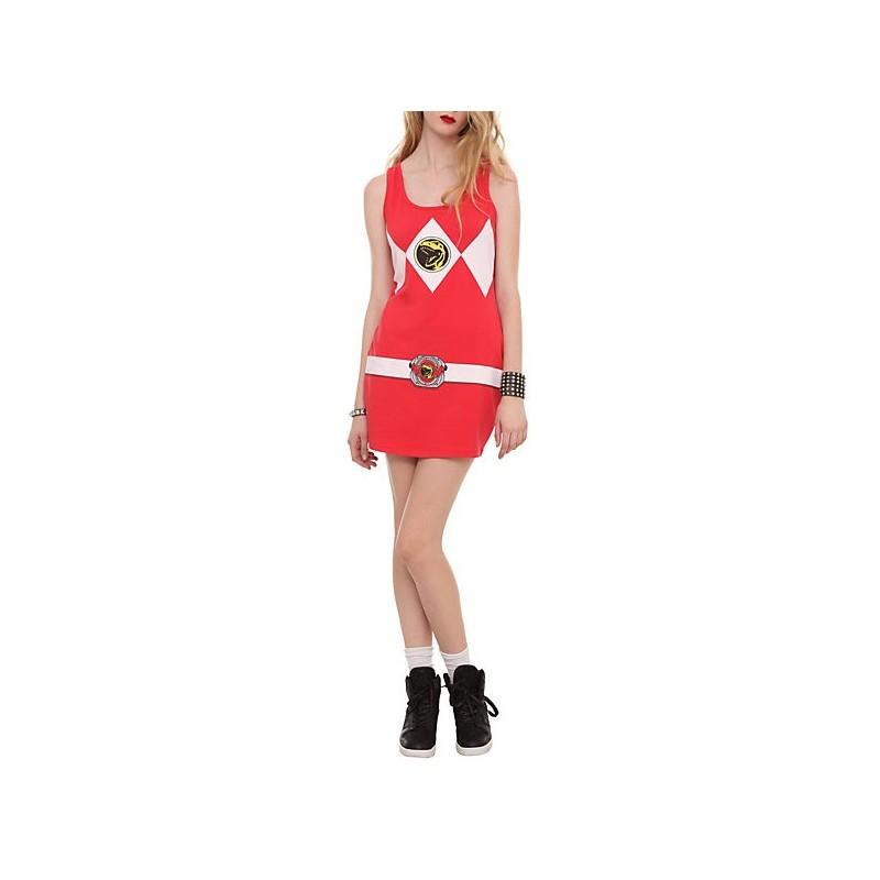466b67b6e99394 Fantasia Power Ranger Vermelho Feminina Adulto Vestido Halloween Carnaval