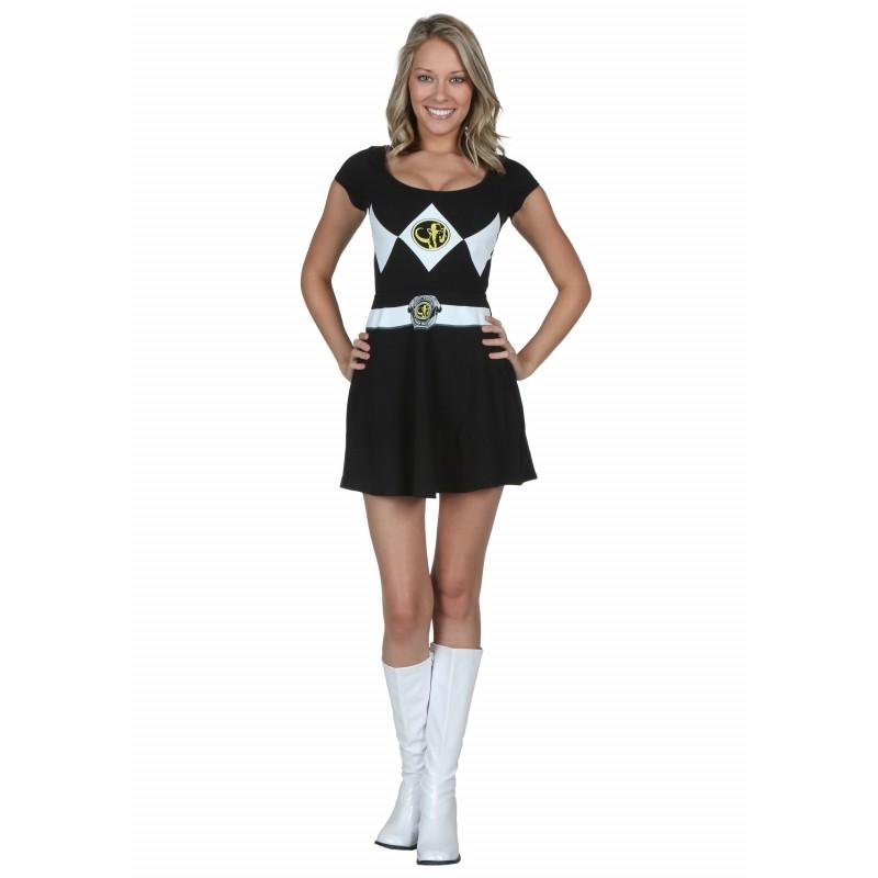 75d1bd745c6dab Fantasia Power Ranger Preto Feminina Adulto Vestido Halloween Carnaval