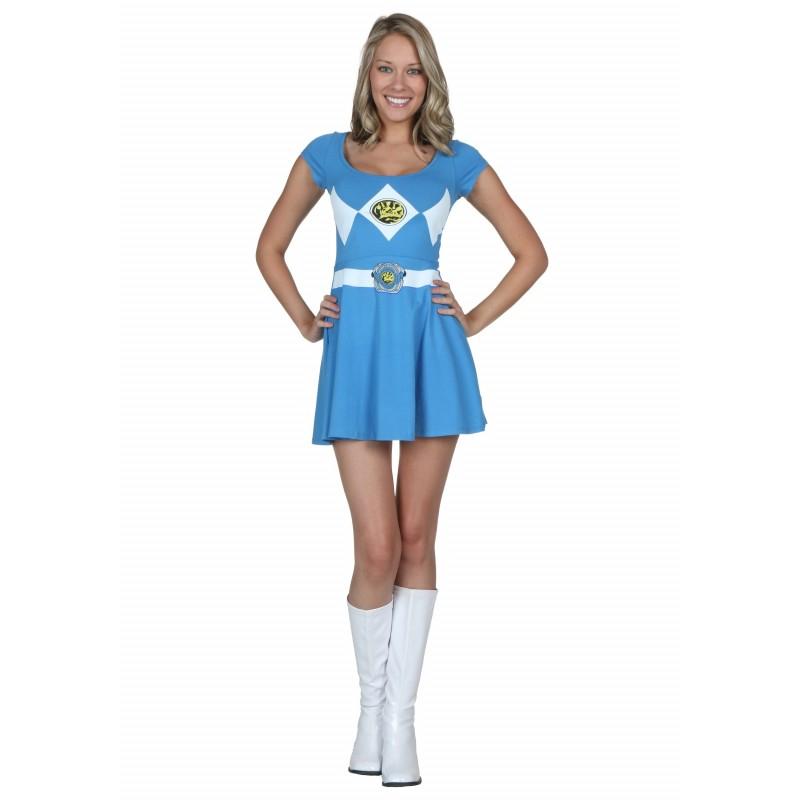 858ec695ae6f33 Fantasia Power Ranger AzulFeminina Adulto Vestido Halloween Carnaval