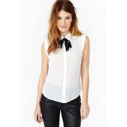 Camisa Feminina Chiffon Branca sem Mangas