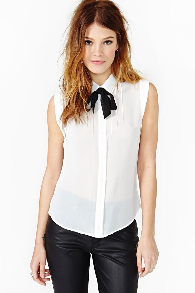 41c0ef03e Camisa Feminina Chiffon Branca sem Mangas