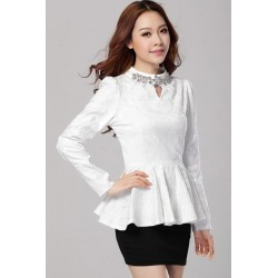 48b7e4c47 Blusa Feminina de Renda Branca Manga Longa