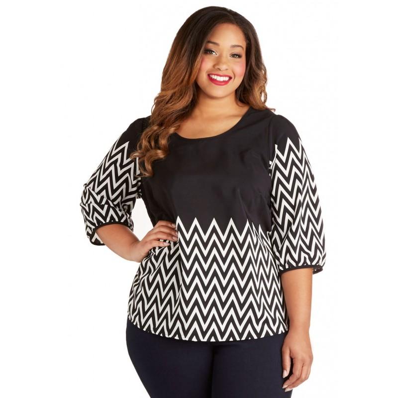 60018e894818 Blusa Feminina Plus Size Estampada Preta e Branca