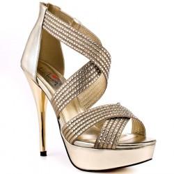 Sandália Feminina Dourada Salto Agulha 12cm
