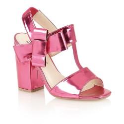 Sandália Feminina Couro Rosa Pink Metalizada Salto Grosso
