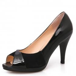 Sapato Peep Toe Feminino Preto Envernizado