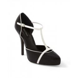 Sapato Feminino Couro Preto e Branco Salto Alto 12cm