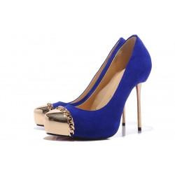 Sapato Feminino Camursa Azul Bico e Salto Dourados Alto 12cm