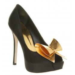 Sapato Feminino Preto e Dourado e Salto Alto 15cm