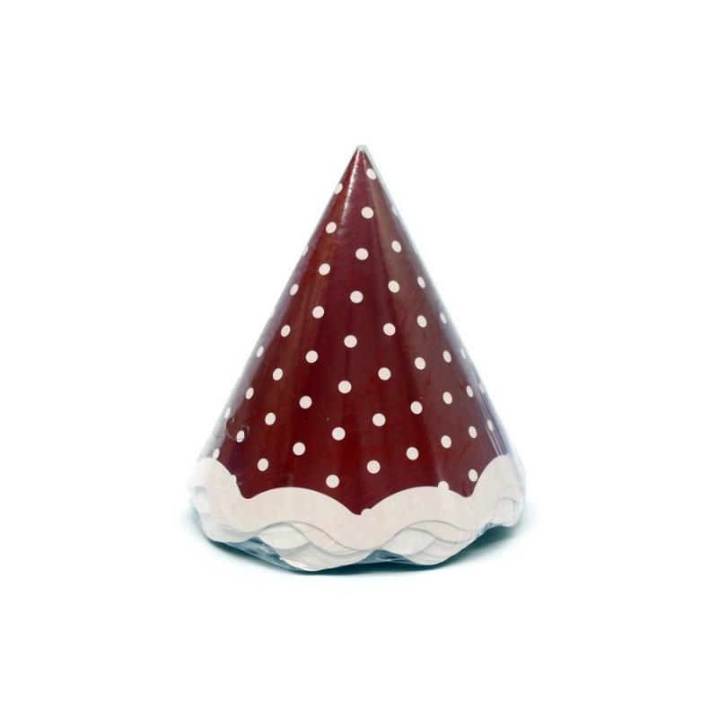 Chapéu de Aniversário Poá Rosa e Marrom Bolinhas 8un