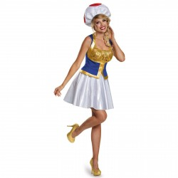 Fantasia Feminina Toad Super Mario Adulto Festa Halloween