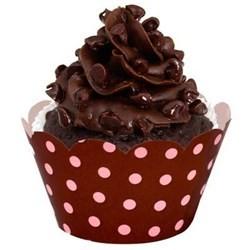 Wrapper Forminha para Cupcake Marrom e Rosa Poá Bolinhas 24un