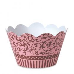 Wrapper Forminha para Cupcake Rosa e Marrom 24un