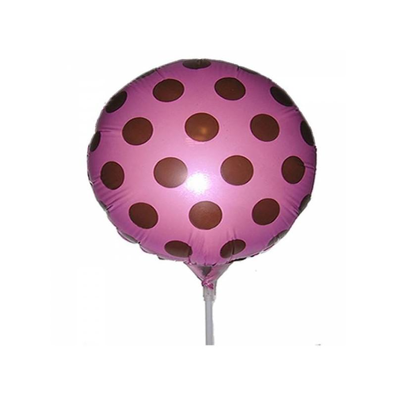Balão Metalizado Poá Rosa e Marrom