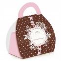 Embalagem Luxo para Lembrancinha Poá Marrom e Rosa 10un