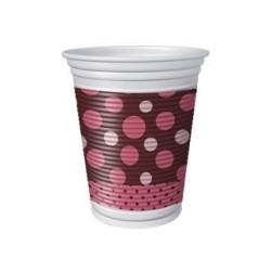Copo Plástico Descartável Poá Rosa e Marrom 50un
