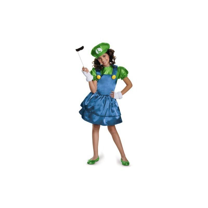 Fantasia Infantil Luigi Super Mario World Meninas Festa Halloween