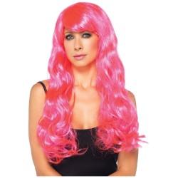 Peruca Feminina Rosa Pink Longa Festa Halloween Carnaval