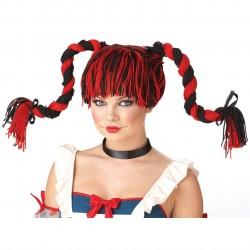 Peruca Feminina Boneca de Pano com Tranças Carnaval Halloween