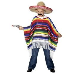 Fantasia Infantil Mexicano Poncho Festa Halloween Carnaval