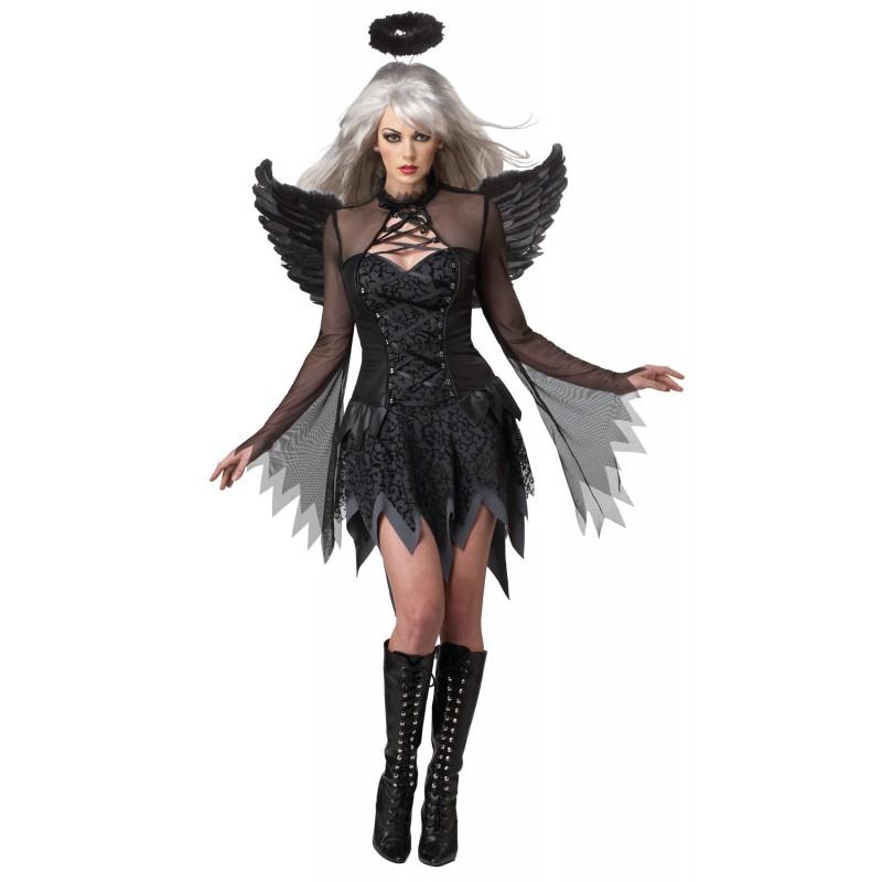 Fantasia Feminina Anjo Do Mal Traje Preto Halloween Carnaval