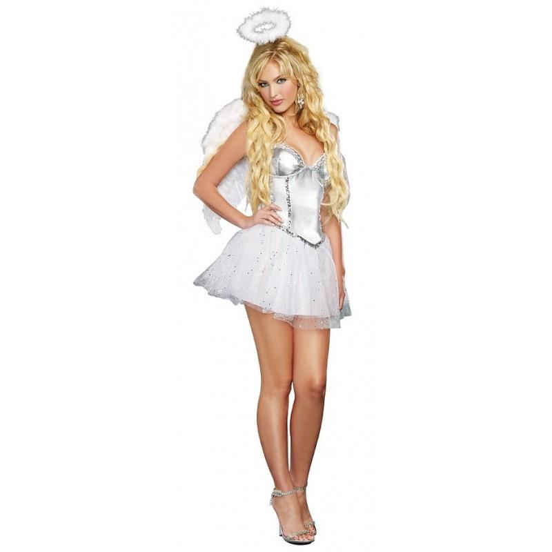Fantasia Feminina Anjo Sexy De Branco Halloween Carnaval
