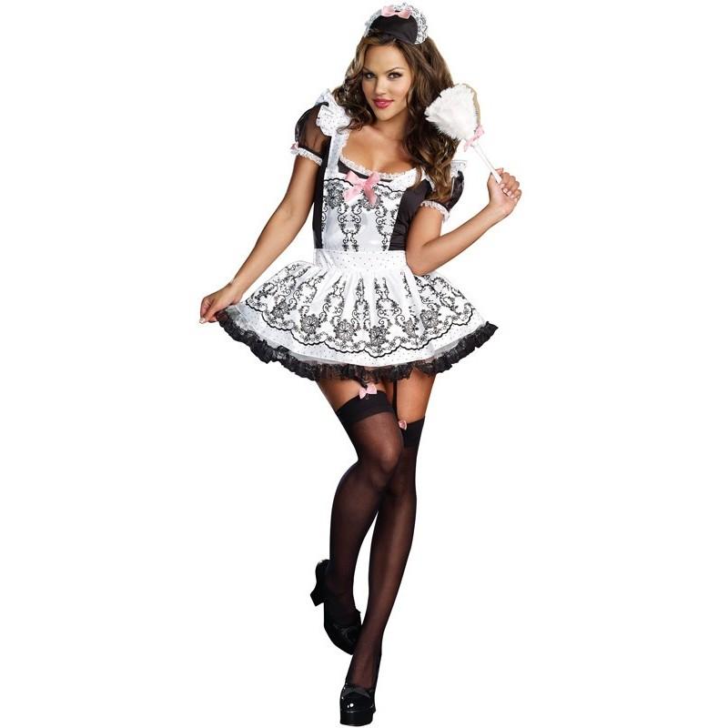 54bb093a0 Fantasia Feminina Francesa Empregada Sexy Festa Halloween