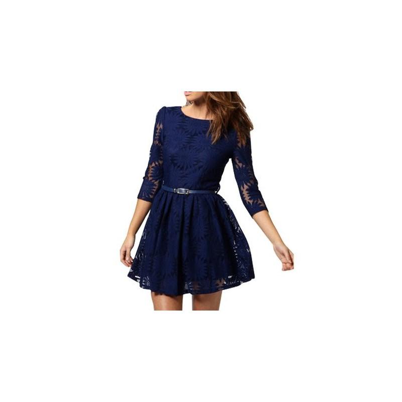Vestido Azul em Renda mangas 3/4 Rendado com Girassóis