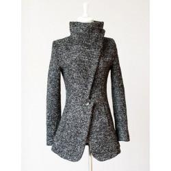 Casaco Feminino Inverno em Lã Cinza Quente