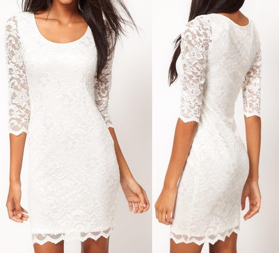 Vestido de renda branco feminino