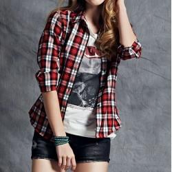 Camisa feminina Xadrez Casual manga longa