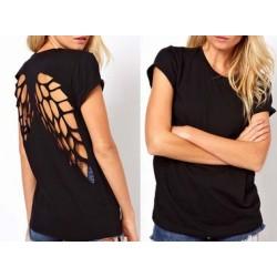 Blusa Camiseta Feminina Preta Asas de Anjo nas costas Preta