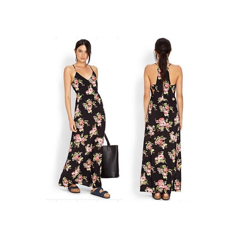 Vestido Longo Verão Estampado Floral Chiffon com Alças