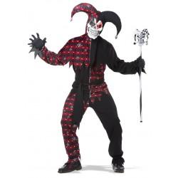 Fantasia Masculina de Terror Bobo da Corte Sinistro Festa Halloween Carnaval