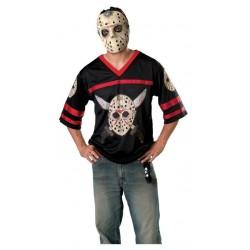 Fantasia Masculina Jason Camiseta e Máscara Halloween Carnaval Festa