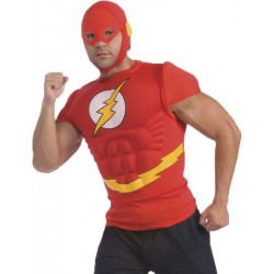 Fantasia Masculina Camiseta The Flash Halloween Carnaval Festa