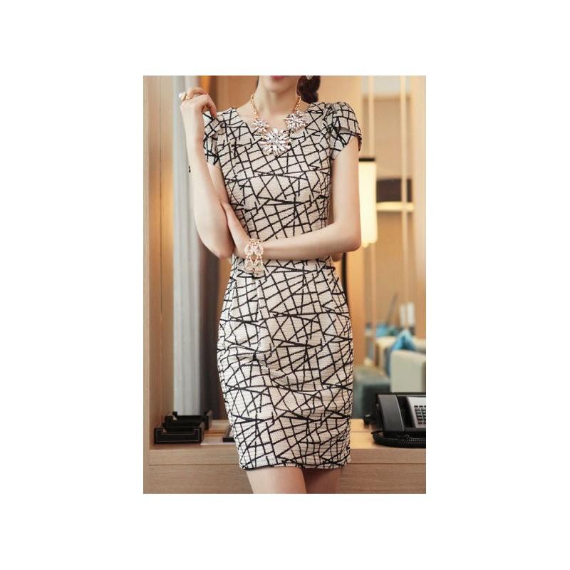 Vestido Formal cintura marcada Estampado padrão geométrico