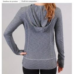 Blusa Feminina com Capuz moda Fitness cinza Nylon com Lycra