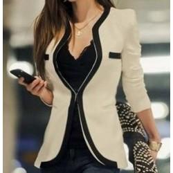 Casaco Blazer Feminino Gola em V Duas Cores moda inverno